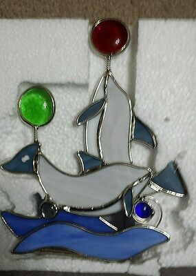 Stained Glass Dolphin Tea Light Candle Holder Dolphins playing with balls