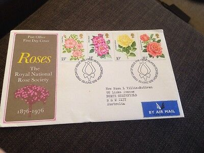 1976 Centenary Of Royal National Rose Society British First Day Cover Addressed