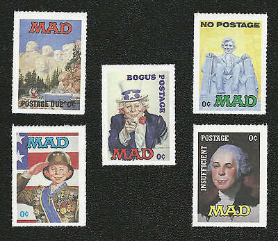 MAD Magazine Alfred E. Neuman Insufficient Bogus No Postage Due Novelty Stamps!