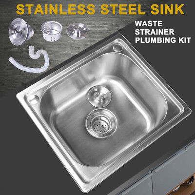 Square Single Bowl Stainless Steel Kitchen Sink Laundry Topmount Sink With Waste