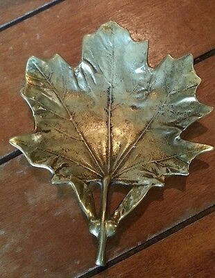 Vintage Solid Brass 3-48 Maple Leaf Ashtray Dish