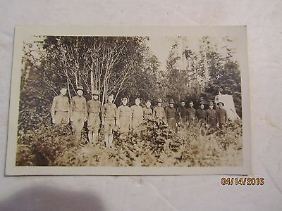 WWI Soldiers Standing in Line Bay City, Wash Real Photo Postcard