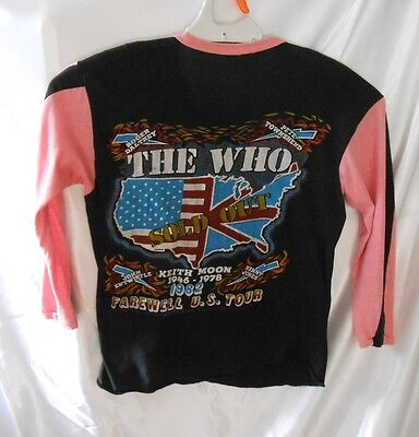 VINTAGE 1982 THE WHO Farewell US Tour T Shirt Keith Moon Daltrey Pete Townshed