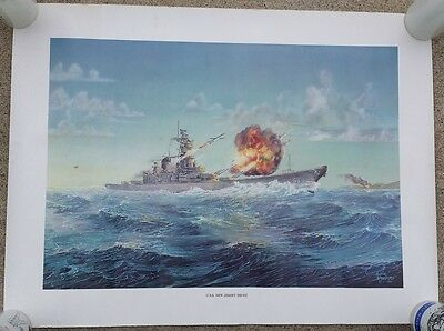 USS NEW JERSEY BB 62 POSTER - 24 inches by 18 inches ~ NICE CONDITION