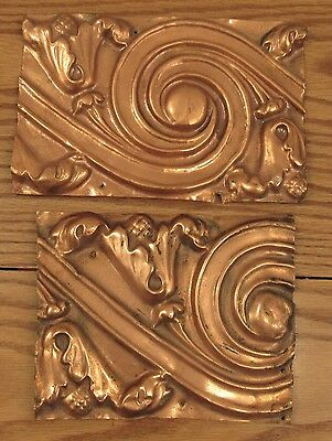 """2 ornate antique copper repousse architectural panels icanthus swirl 6""""x8""""/9"""""""