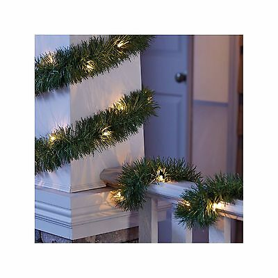 New ! Philips 18ft Pre-Lit Garland Clear Roping Festive, artificial pine garland