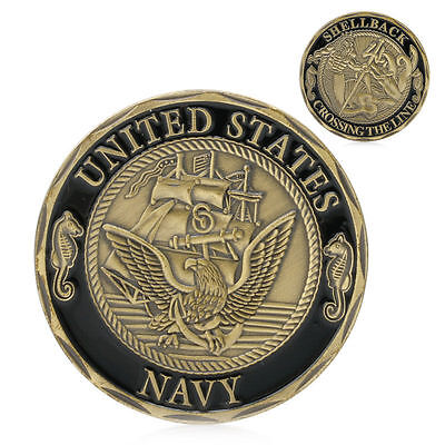 Plated U.S. Navy Shellback Crossing the Line Sailor Commemorative Gold Coin Gift