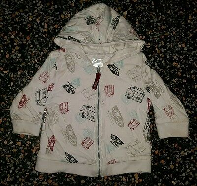 BABY BOYS Sz 00 white PUMPKIN PATCH hooded jacket VEHICLES! CUTE! COOL!