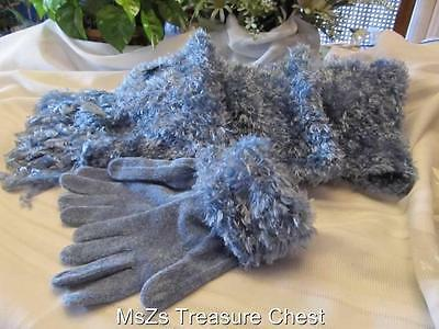 Soft Knit Light Blue Gloves and Matching Scarf Set     ** New w Gift Box **