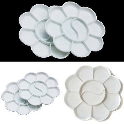 2pcs 10Well Round Palette Circle Palette Plastic Artist Drawing Mixing Palettes