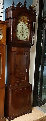 Antique English Grandfather Clock,solid Mohogony Case Chain Driven Time + Strike
