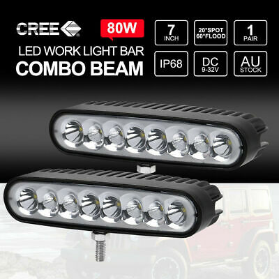 Pair 7 inch 80W CREE LED Light Bar SPOT FLOOD Work Driving DRL Lamp 12V 24V 6""