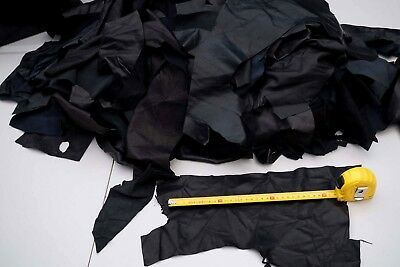 Black Lambskin large leather Pieces/Off Cuts 0.4 KG