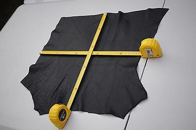 Black Cowhide Upholstery leather piece 46 x 40cm Grainy Cow Hide Leather