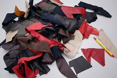 Lambskin Small Leather Scrap Pieces/Remnants Various Colors 0.4 KG Craft Bag