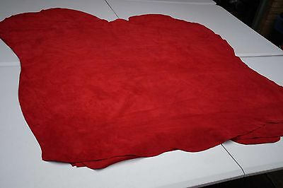 Red garment suede calfskin hides 12-13 sq ft Italian Leather