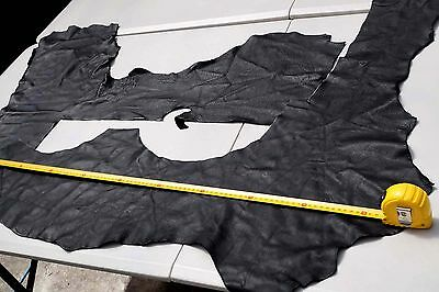 Black Cowhide Upholstery Elmo large project leather pieces Soft pliable 0.45 KG
