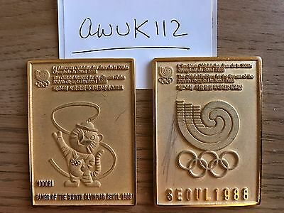 Olympic Participation Medal 24K gold plated Seoul 1988.