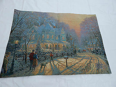 Vintage French Beautiful Snow Scene Tapestry 90x65cm (T655)