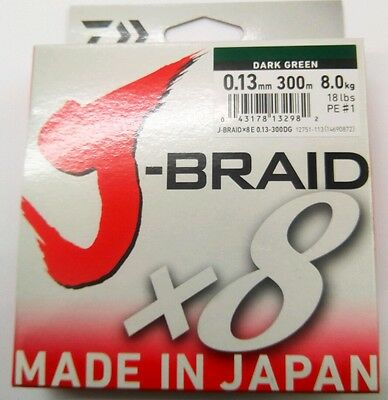 NEW DAIWA J-BRAID X8 FISHING LINE 300m SPOOL .13mm  18lbs   8kg