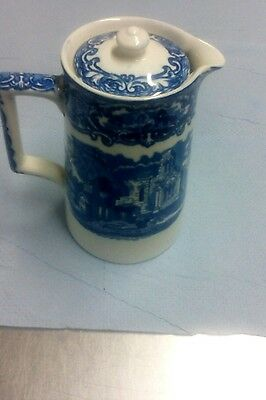 OLD ANTIQUE BLUE & WHITE CHINA GEORGE JONES ABBEY coffee pot