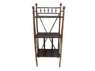 Antique 19th Century English/French Burnt Bamboo  Open Bookcase Etagere Bookcase