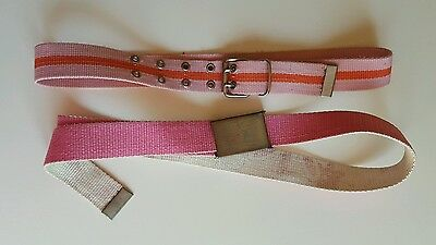 2 x Girls Pink Fabric Chrome Belt Buckle Belts