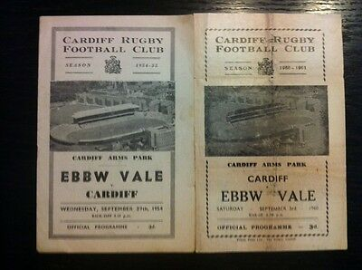 Cardiff v Ebbw Vale Rugby Programmes 1954 and 1960