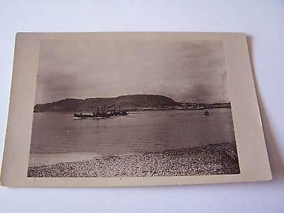 Vintage real photo Postcard of two ships on the water