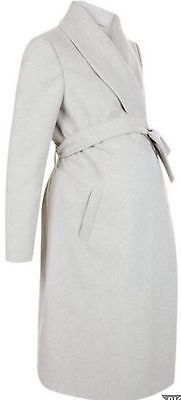 New Look Long Wrap Grey Maternity Coat. BNWT. Sizes 8,10,12,14,16,18.RRP £39.99