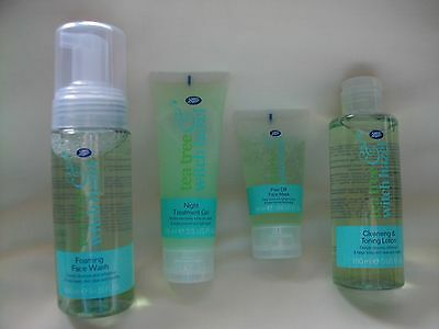 BOOTS Tea tree & Witch hazel Foaming face wash/mask & cleansing lotion night gel