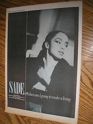 sade, when am i going to make a living, 1984 advert, poster size press advert