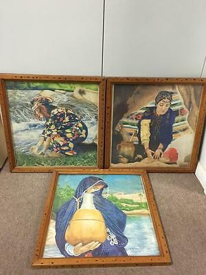 Bright & Colourful set of 3 Framed Lady Art Paintings / Pictures - Signed!