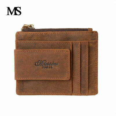 Men Women Vintage Real Leather ID Credit Card Pocket Organizer Wallet