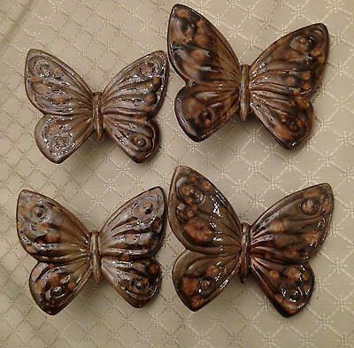 """VTG Ceramic LRG 4"""" Wide Macrame Beads Butterflies Extra Large Lot Of 4 Brown"""