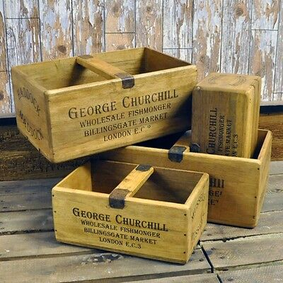 Old Antique Vintage Style Wooden Storage Box Crate Set Boxes Rustic Shappy Chic