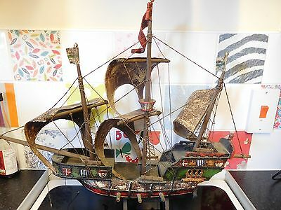 """Large 27"""" Unique Vintage Model Galleon Hand Made Pirate Ship"""