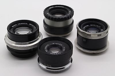 Three Vintage Wray Supar enlarging lenses, plus an Aico 50mm lens - VGC