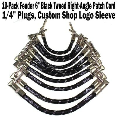 """10-Pak Fender 6"""" Black Tweed 1/4 Right Angle Patch Cable Cord Guitar Custom Shop"""