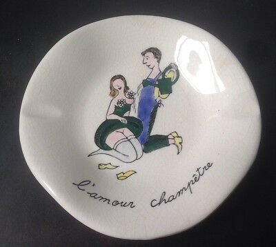 Vintage French Ceramic Plate Ashtray Change Keys Tray Risque Nude Erotic Naughty