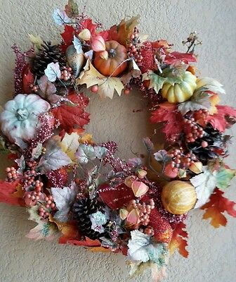 "Large Fall Leaves Wreath, Front Door 24"", Full Colorful Wreath"