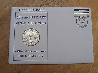 1972 Captain Scott silver proof medallic first day cover