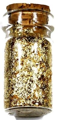 (1) .5 Ml Glass Jar Of 24K Gold Leaf Flakes Free Shipping