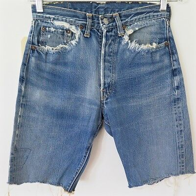 VINTAGE ORIGINAL LEVIS 501 BIG E JEANS CUT OFF SHORT DENIM W28 1960's