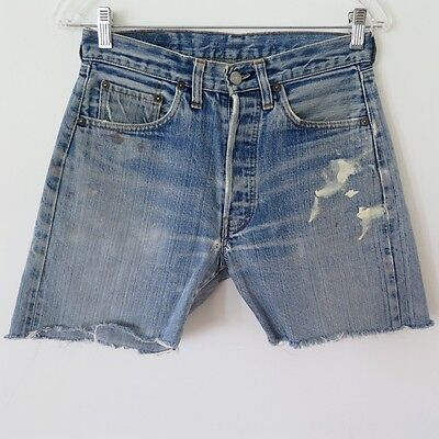 Vintage Original Levis 501 Jeans Cut Off Short Denim Redline Selvedge W28