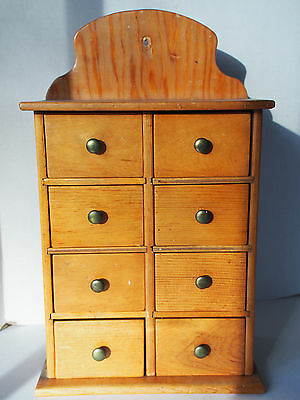 Antique SOLID Walnut Wood Apothecary Spice 8 Drawers Chest Cabinet Wall or Table