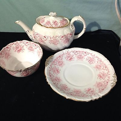 ANTIQUE W.A.A. & Co ADDERLEY WINDSOR TEAPOT CAKE & BOWL # R 211980  PINK GOLD