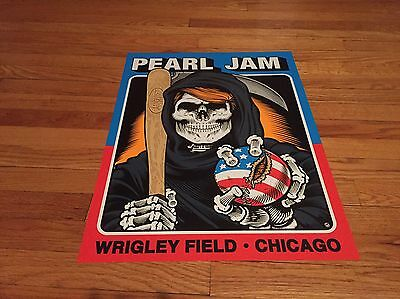 Pearl Jam Wrigley Field Poster Sean Cliver Sold Out Rare Mint