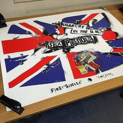 """Rare Sex Pistols """"anarchy In The Uk"""" Ltd Edition Picture Disc & Promo Poster"""