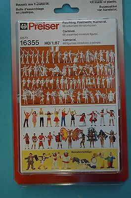 Preiser 16355 Carnival, carnival 68 unpainted figures and accessories NEW